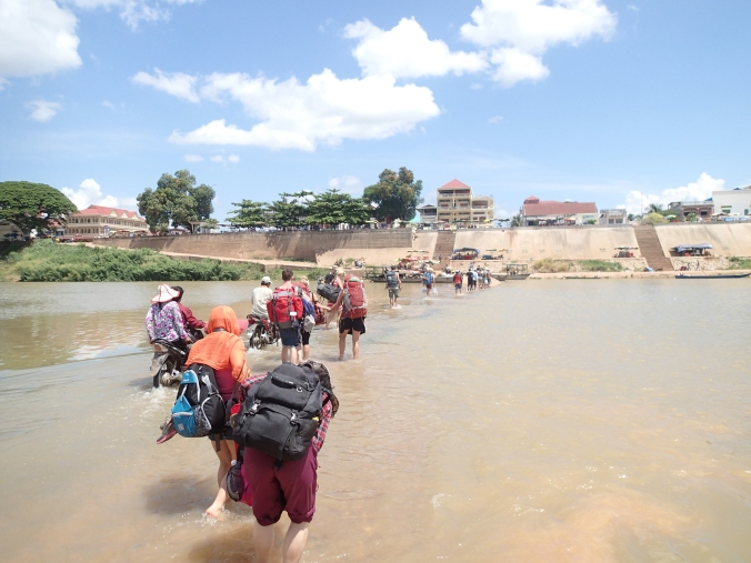 Fording the Mekong into Laos